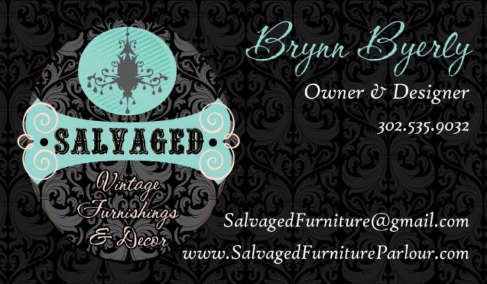 Salvaged Furniture custom business card design by Dapper Web Designs and CIRJ Concepts