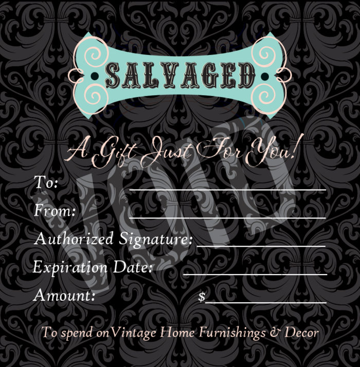 Salvaged Furniture custom gift card design by Dapper Web Designs and CIRJ Concepts