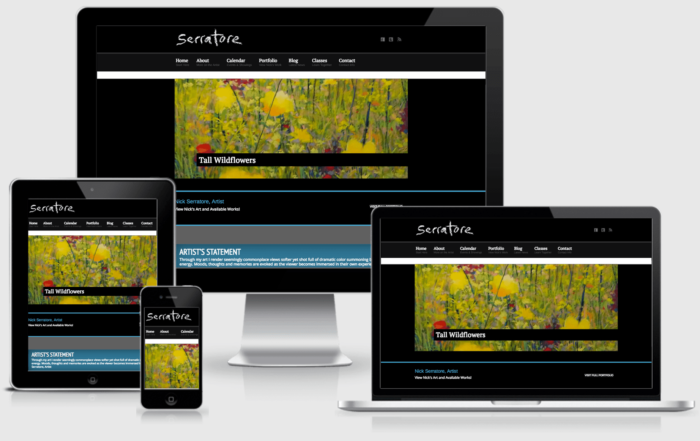 Serratore Art, responsive, custom web design by Dapper Web Designs, CIRJ Concepts
